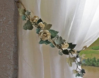 2 Paper Rose Garland Curtain Tie Back's - Shabby Chic  Sheet Music Roses Wedding Decoration