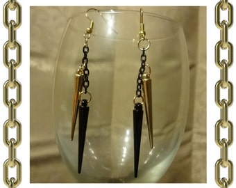 Gold & Black Spike Earrings - 1 Pair