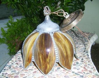 1960's Tulip Petal Hanging Lamp Rootbeer Color