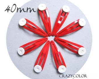 100 pcs Bright Red Hair Snap Clip With Flat Pad 40mm (1.6 Inch) 40P7