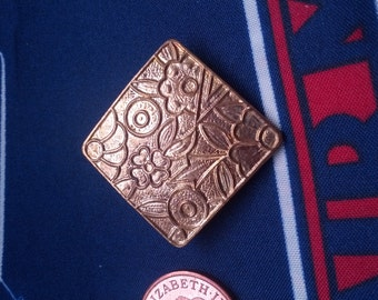 Square / Rhombus Goldtone Brooch with Flower Design