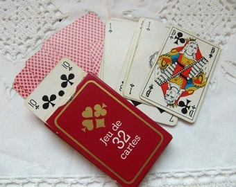 French vintage 32 playing cards belote manille