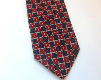 Vintage Italian silk tie   Giacomo de Senese from Milano red and blue tie