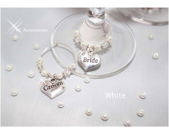 Top Table Wedding Wine Glass Charms, 30 Colours Available, choice of  40 different Top Table Charms