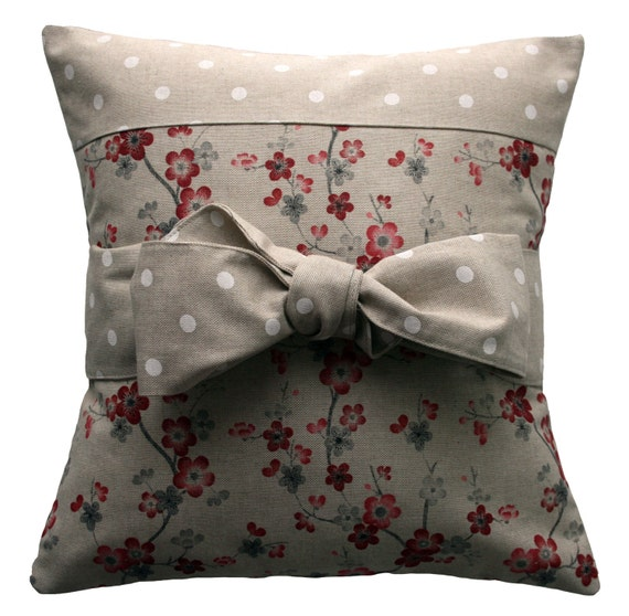 Handmade Pillow Cover Country Chic Bow