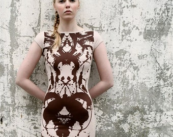 Mini dress with hand made print .