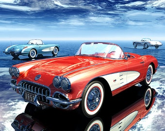 "59 Reflections, Digital print - 8.5"" X 11"", Home Decor, Corvette Art, Signed by Artist Mark Watts"