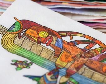 Artistic postcard - Mother-river / Tribal postcard / Mayan postcard