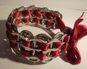 Ring Pull bracelet - Red ribbon - Bow tie-up