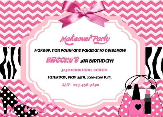 Spa makeover party birthday invitation Digital DIY – Makeover Party Invitations