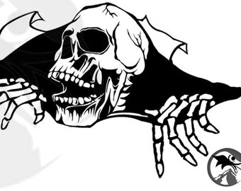 """Skull with Hands coming out of a tear (12"""" by 6"""")"""