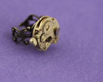 Steampunk ring mechanical  vintage watch movement ring 11 rockabilly