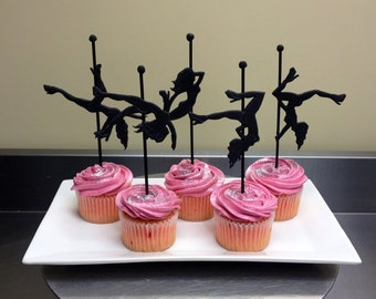 6 Fimo Pole Dancer Cupcake Toppers