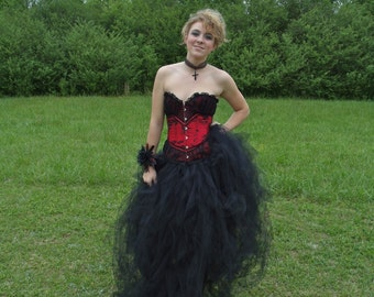 Prom Steampunk Burlesque Gothic Wedding or Prom Dress (plus Corset) TuTu Tulle Skirt Small  Black - Red