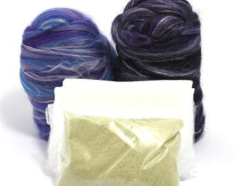 Bluebell - Nuno Felting Kit - Merino Wool and Tussah Silk Felting - Nuno Felt