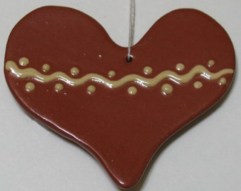 Heart with Squiggle and Dots Feather Tree Ornament - Pennsylvania German Redware