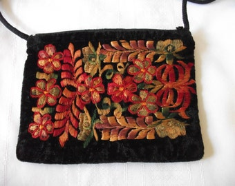 Embroidered Velvet Purse