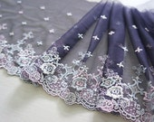 "7.5"" grape embroidered tulle net lace trim - per 2 yard"