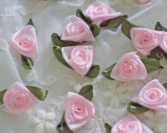 "7/8"" pink Satin Ribbon Rose Flower Appliques -30pcs"