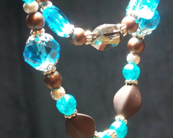 Teal and Brown beaded necklace
