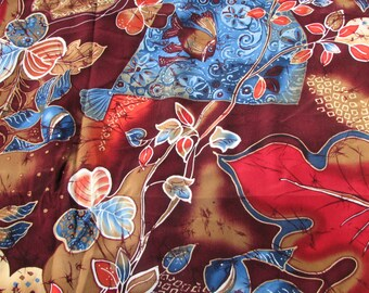 Vintage Silky Fabric - Bright and Colorful