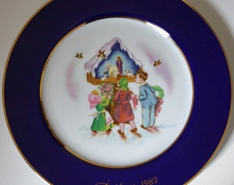 Vintage Eve Rockwell 1982 Christmas Limited Edition Collector Plate 5th in Series