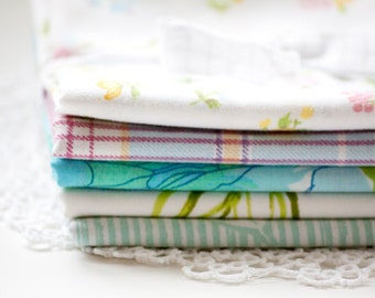 Variety Pack Vintage Sheet Fat Quarters,  Great for Crafting, Quilting or Sewing