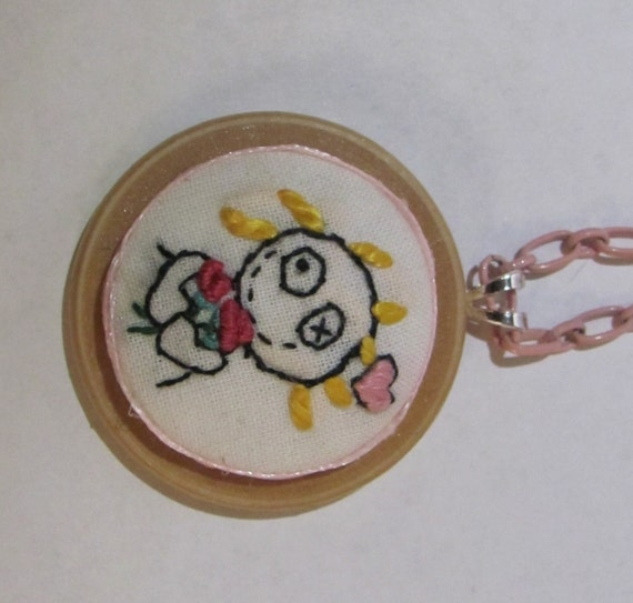 embroidered rag doll pendant necklance