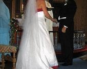 Cathedal wedding veil with blusher - 2 layer bridal veil.