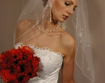 "Wedding veil elbow length 30"" 1 layer hand beaded flowers and pencily edging. Ready to ship piece."