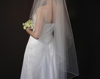 Angel cut wedding veil/water fall cut wedding veil - pencil serge angel cut bridal veil.