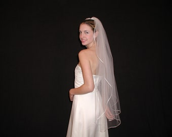 "1 layer fingertip Rounded/Rattail Ribbon wedding veil - 42"" length wedding veil. Ready to ship."
