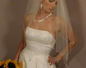 Hand beaded Parasol cut with hanging crystals wedding veil - ready to ship piece.