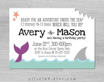 Mermaid and shark kids birthday invitation (digital / printable file)