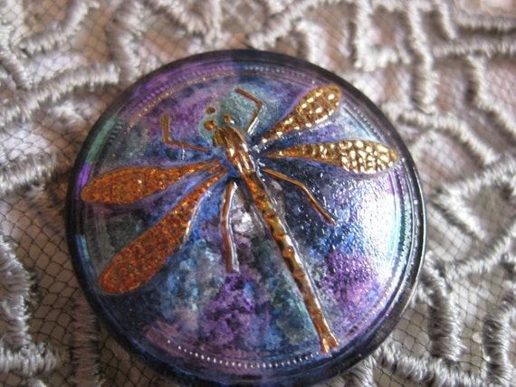 TyeDye Golden Dragonfly 30mm Czech Glass Button