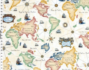 world map fabric drapery fabric upholstery fabric home decor americaasiaafricaeurope mustardyellowredblue 12 yard 54width