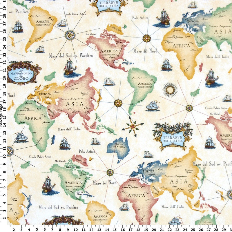 World Map Fabric Drapery Fabric Upholstery Fabric Slip