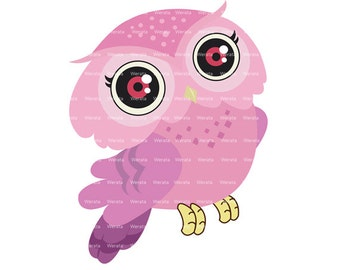 pink owl clip art digital clipart - Cute Owl Digital Clip Art - cute owl clipart - Personal and Commercial Use