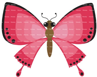 red butterflies clip art digital clipart - butterfly clip art - butterfly graphics - butterfly digital - Personal and Commercial Use