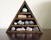 crystal and mineral stone collection in handmade triangle wood wall shelf