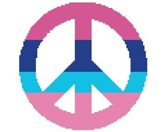 Peace Sign Cross Stitch Pattern, Hippie Peace Cross-Stitch Pattern PDF Download, Pink and Blue