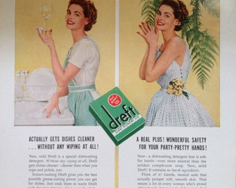 Vintage 1953 Dreft Ad. Paper Ephemera from 1953 Family Circle Magazine