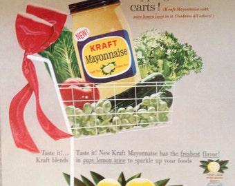 Vintage Kraft Mayonnaise Ad, Paper Ephemera from a 1962 Ladies Home Journal