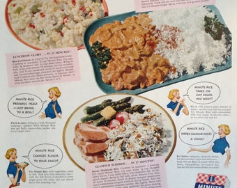 Vintage 1951 Minute Rice Ad, Paper Ephemera taken from a Ladies Home Journal.