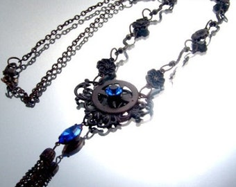 Steampunk Vintage Filigree Clock Gear Necklace Neo Victorian Blue Rhinestone,Venetian Kay 4853