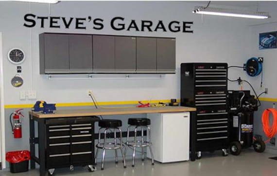Garage decor wall art custom name vinyl decal