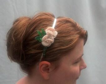 Beaded rose headband