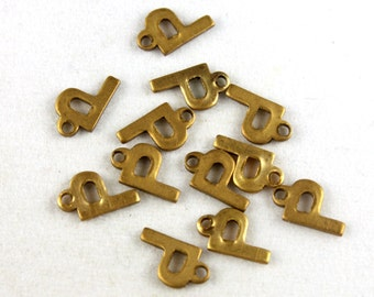 12x Vintage Brass Initial Charms - M030-P