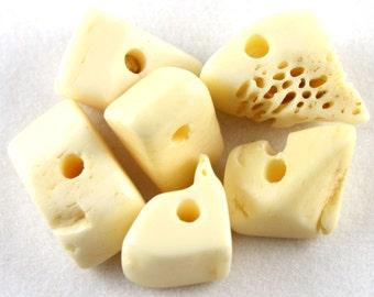 6x Bone Nugget Beads - N003