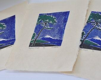 Hagoromo Feather Robe Night EDITION Relief Linocut Print Mt. Fuji Miho no Matsubara Pine Beach Shizuoka - Limited edition Reduction method